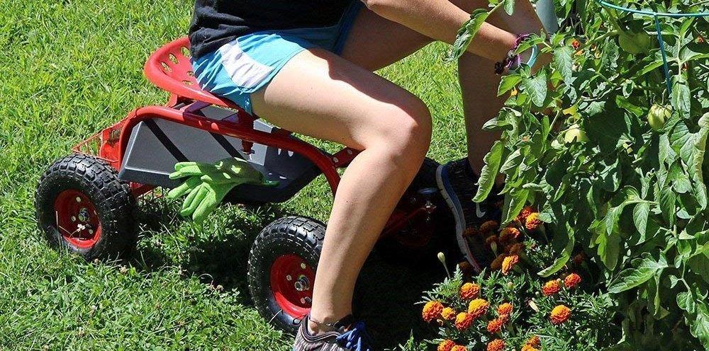 Sunnydaze Rolling Garden Cart Scooter